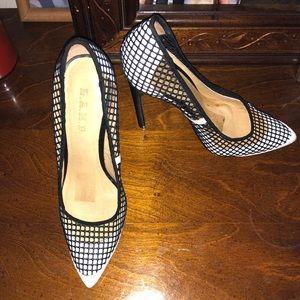Lamb black and white heels